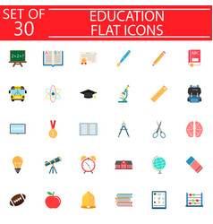 education flat icon set school sign collection vector image vector image