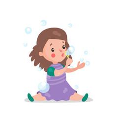 sweet cartoon brunette little girl sitting on the vector image