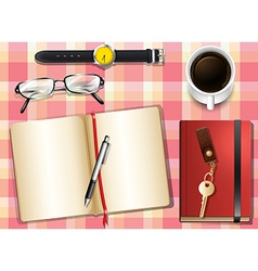 A topview of a table with many things vector image vector image