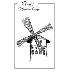 cabaret moulin rouge in paris france sketch vector image