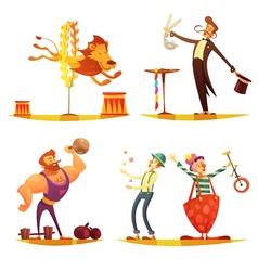 Circus Retro Cartoon 4 icons Square vector image vector image