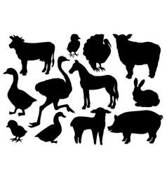 farm animals livestock silhouettes vector image vector image