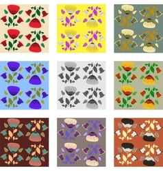 Nine patterns of poppy vector image