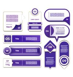 Set of blue-violet progress version step icons eps vector image vector image