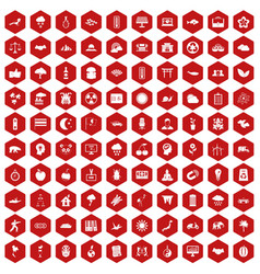 100 harmony icons hexagon red vector