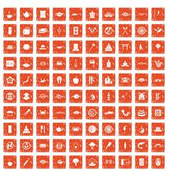 100 sushi bar icons set grunge orange vector