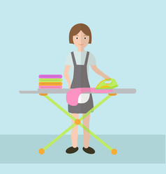 a woman irons clothes ironing board and iron vector image