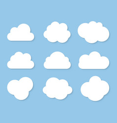 abstract white cloud icon collection set isolated vector image