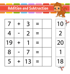 Addition and subtraction task for kids education vector