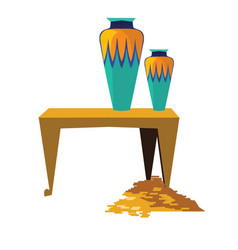 Ancient egypt sacrificial vase gold coins vector