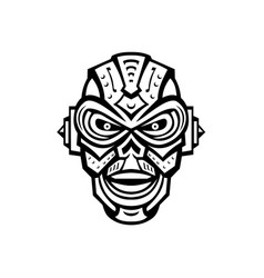 Angry iron skull robot or android viewed from vector