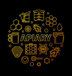 Apiary circular golden on dark vector