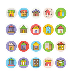 Architecture and Buildings Icons 1 vector image
