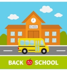 Back to school text School building with clock vector image