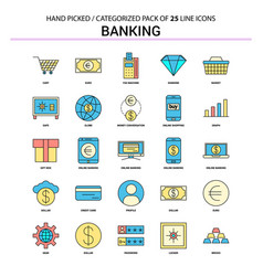banking flat line icon set - business concept vector image