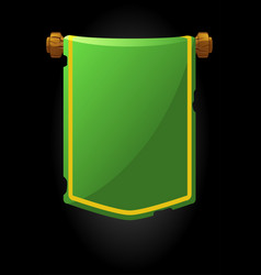 Banner panel old green flag for game vector