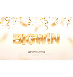 Big win gold sign banner for gambling vector