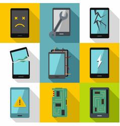 Broken phones fix icon set flat style vector
