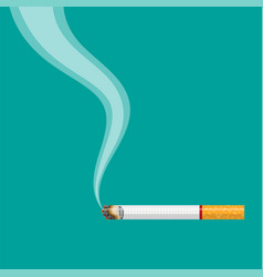 Burning cigarette with smoke vector