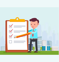 Businessman is holding pencil and notes list tasks vector