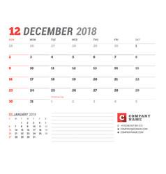 Calendar template for 2018 year december business vector