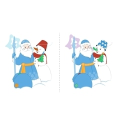 Cartoon Father Frost with Snowman and gifts Find vector
