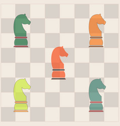 Chess knight collection vector