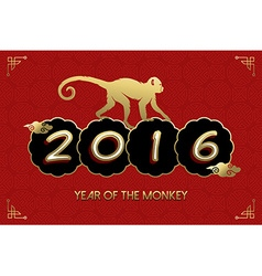 Chinese New Year 2016 monkey gold red card vector image
