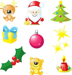 Christmas icon - santa xmas tree candle reindeer vector