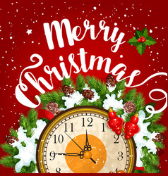 Christmas midnight clock card for new year design vector