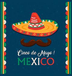 cinco de mayo card mexican mariachi man hat vector image