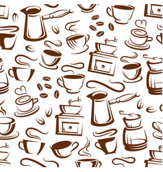 coffee cups and makers seamless pattern background vector image