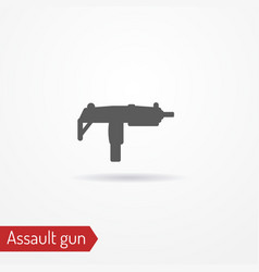 compact submachine gun silhouette icon vector image