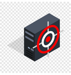 Computer system unit and red target isometric icon vector