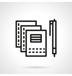 Copybooks and pen black line icon vector image