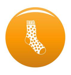 Cotton sock icon orange vector