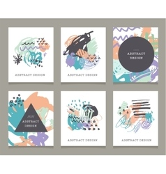 Creative hand drawn backgrounds collection vector image
