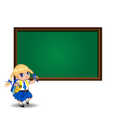 cute school girl near blackboard with empty copy vector image
