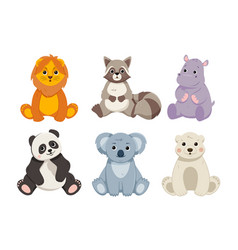 Cute wild animals set vector