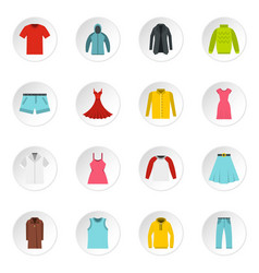 different clothes set flat icons vector image