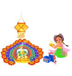 Diwali holiday with girl putting flame to rangoli vector