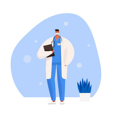 doctor wearing a medical mask vector image