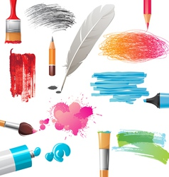 Drawing tools and banners vector