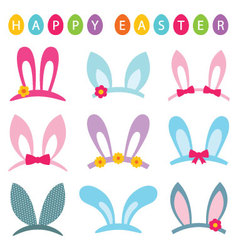 Easter photo booth props set vector