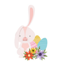 Easter rabbit with egg isolated icon vector