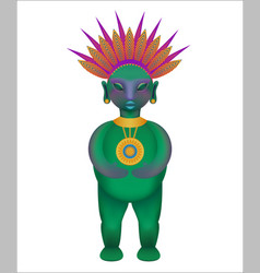 Figurine of the ancient mayan tribe cartoon style vector