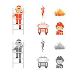 Fireman flame fire truck fire departmentset set vector