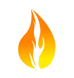 Flat color flame icon vector