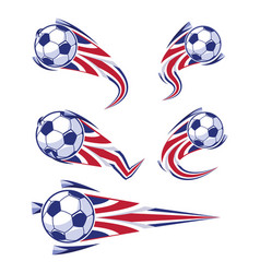 Football blue white red and soccer symbols set vector