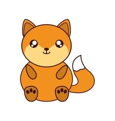 Fox kawaii cute animal icon vector
